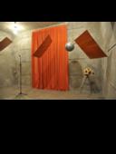 Copyright: Gesellschaft für Akustikforschung DresdenmbH - Messung der Schallabsorption von akustischem Vorhang für diffusen Schalleinfall im Hallraum nach DIN EN ISO 354, Bestimmung von bewertetem Schallabsorptionsgrad nach DIN EN ISO 11654